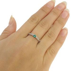 ピンキーリング 一粒 エメラルド 指輪 18金 リング xmas クリスマス