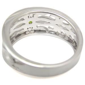 【送料無料】プラチナ・ペリドット・リング・メンズリング・トライバル・指輪
