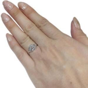 【送料無料】プラチナ アクアマリンサンタマリア リング クロス ハート 指輪