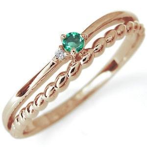 エメラルド シンプル リング 10金 指輪 ピンキーリング xmas クリスマス