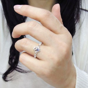 タンザナイト リング ハート アラベスク 18金 華奢 指輪 xmas クリスマス