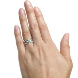 【送料無料】唐草 リング エメラルド リング バタフライ アンティーク調 指輪