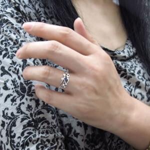 【送料無料】唐草 指輪 アラベスク サファイアリング K18