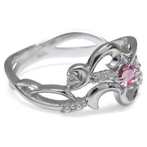 ピンクトルマリン 唐草 結婚記念日 リング メモリアルリング 指輪 10金 xmas クリスマス
