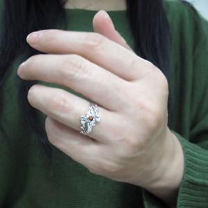 メモリアルリング 誕生石 唐草 指輪 結婚10周年 トライバルリング 10金 xmas クリスマス