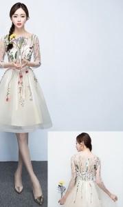 922be37c34b7c3 ワンピース ドレス 結婚式 パーティー ミニ丈 七分 シースルー 花柄 オーガンジー ブラック 黒 シャンパン オフホワイト ブルー グレー