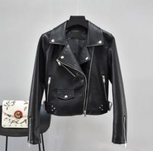レザージャケット 革ジャン ダブルライダース ショート丈 短 ジャンパー ブルゾン スレンダーライン 細身 レディースファッション