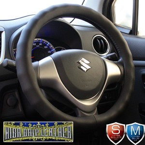 ハンドルカバー 軽自動車 コンパクトカー ミニバン ハイグリップレザー ブラック Sサイズ36.5〜37.9cm Mサイズ38〜39cm