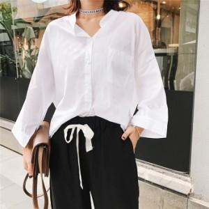 個性的ワイドシャツブラウストップスス袖あり安い大きいサイズブラウスキレイめ/着痩せシャツレディース春夏用/白/グリーン