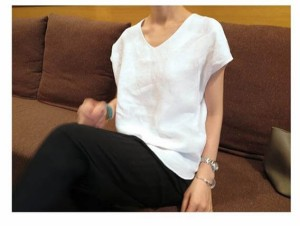 Vネック 半袖 リネン Tシャツ