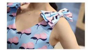 肩リボン Vネック 花柄 ノースリーブ フレア ミニ ワンピース