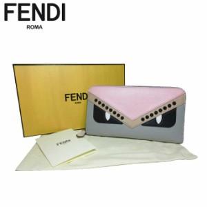 e6969392367e フェンディ アウトレット FENDI 財布 8M0299-9HF-F10Y0 レザー×スタッズ バグズ ラウンドファスナー 長