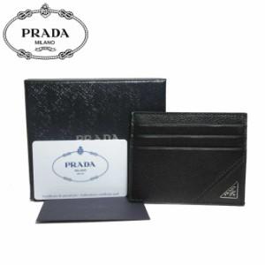 261373171fe2 プラダ アウトレット PRADA カードケース 2MC223 レザー 三角プレート マチ無し カード入れ VIT.MICRO