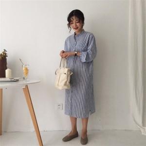 カジュアル☆バックコンシャス 長袖 ストライプ ウエストリボン スリット ワンピース シャツワンピース ミディアム