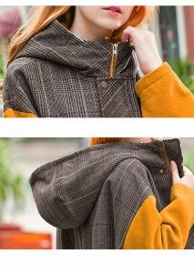 イエロー からし色 袖チャックポケット フード カジュアル ミディアム