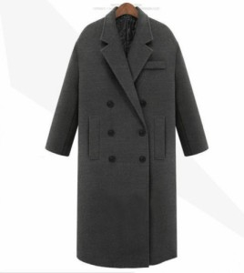 レトロ☆オーバーサイズ シンプル ロングピーコート