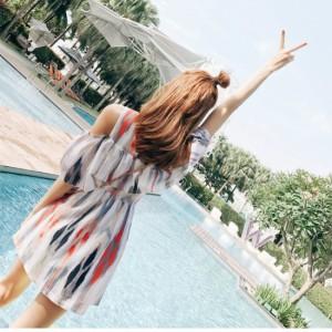 大人可愛い☆ふんわりフリル シフォン ワンピース水着 フレアスカート 体型カバー