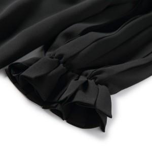 【お取寄せ】Vネック ボリューム袖 プリーツ ストライプ 7分袖 MKAT70450