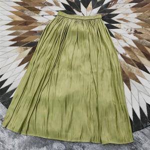 お取寄せ アースカラー スカート 無地 ハイウエスト ロング クリンクル加工 MKAT70579