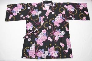 【甚平(女性用)3L 4Lサイズ】黒×赤紫絞り(牡丹) 浴衣生地使用 大きいサイズ ビッグサイズ 大柄な方でも大丈