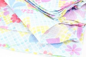 【新柄 女浴衣 キスミス ブランド浴衣】水色 格子 花 フラワー Xmiss キ・ス・ミ・ス ファッション ゆかた 夏祭り