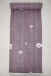 新柄/女物浴衣反物【萩】綿紅梅・型染 うす紫(ほたる) 綿100% お仕立て 生地 ブランド レトロ 浪漫 教材用 和裁