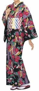 踊り衣裳【反物 柚印 手染小紋着尺】黒 取り寄せ商品 「日本の踊り」掲載 踊り絵羽 稽古 習い事 舞踊 民謡 発表会