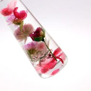 フラワーハーバリウム  ローズアレンジピンク 三角ガラスボトルSサイズ 花母の日 記念日 母の日ギフト