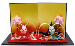 雛人形(ひな人形)『ボンボリ付たれみみうさぎ雛』 手作りちりめん細工和雑貨なごみ コンパクト ひなまつり【送料無料】