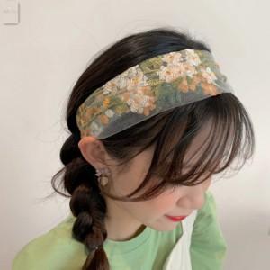 ☆【送料無料】春夏に勧めたい!フラワー刺繍とカラーの組み合わせが可愛すぎるヘアバンド☆