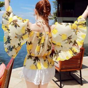 水着 レディース 体型カバー オフショル ビキニ 4点セット レモン柄 フレア 可愛い