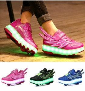 5c4ef6eb29656 2輪 光る靴 子供 LEDスニーカー ローラーシューズ 2輪 光る靴 LED内蔵 子供