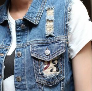 デニムベスト トップス レディースファッションGジャン アウター ダメージ チョッキ ライダース ジージャン  ショートデニムジャケット
