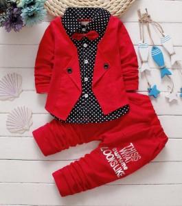 f99b551f579e4a 重ね風ベビー服 ブラウス男の子セットアップ子供服キッズ長袖シャツ+パンツ2点セット. A1268
