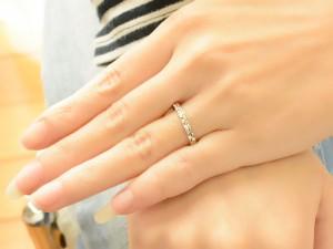 【送料無料】結婚指輪 マリッジリング ブライダル ホワイトゴールド k18 平打ち カットリング 1