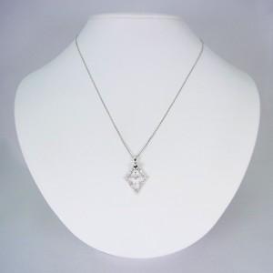 【中古】K18WG クロス ダイヤモンド ペンダント[f130-1]