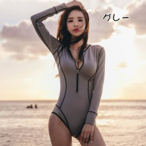 長袖UVカート タンキニ オールインワン 水着 カジュアル 人気 紫外線対策 ビーチ 涼感 水着 18wry061