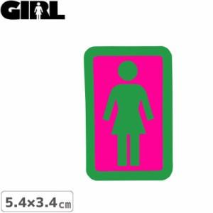GIRL ガールスケートボード STICKER ステッカー BOX LOGO STICKER グリーン×ピンク 5.4cm x 3.4cm NO151