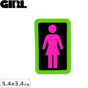 GIRL ガールスケートボード STICKER ステッカー BOX LOGO STICKER ピンク×ブラック 5.4cm x 3.4cm NO153