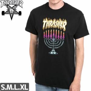 スラッシャー THRASHER スケボー Tシャツ MENORAH TEE ブラック NO96