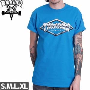 スラッシャー THRASHER スケボー Tシャツ US規格 DIAMOND EMBLEM TEE ブルー NO98