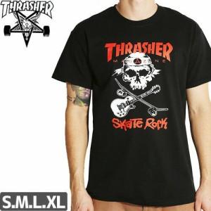 スラッシャー THRASHER スケボー Tシャツ US規格 SKATE ROCK SKULL TEE ブラック NO14