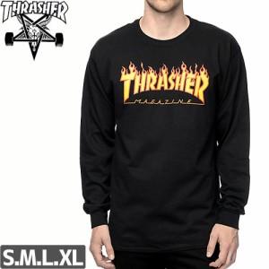 スラッシャー THRASHER ロングTシャツ FLAME LOGO ブラック NO04