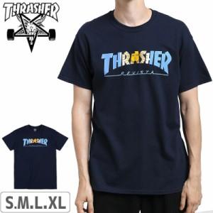 スラッシャー THRASHER スケボー Tシャツ US規格 Argentina T-Shirt ネイビー NO114