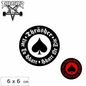 スラッシャー ステッカー THRASHER スケボーOATH 2色 6cm x 6cm NO29