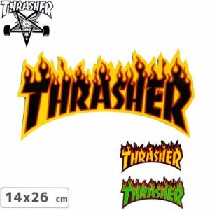 スラッシャー ステッカー THRASHER スケボーFLAME LOGO 3色 14cm x 26cm NO07