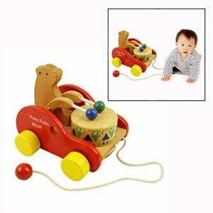 afe1eff673551d Itian 可愛い車 木製のおもちゃ 立体 太鼓をたたく 引っ張り 動きを楽しむ ポコポコくま