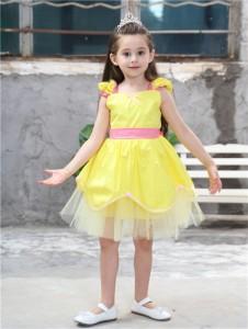cf9a1355d3cb7 AD100 ディズニープリンセス 子供用ドレス キッズ ベルワンピース なりきりワンピース プリンセスドレス 子どもドレス プリンセス
