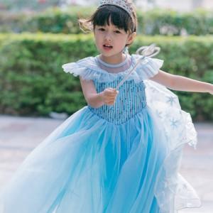 387b550513063 AD122ディズニープリンセス 子供用ドレス エルサ雪の女王 なりきりワンピース プリンセスドレス 子どもドレス