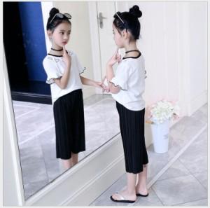 夏 韓国子供服 新品 女の子 2点セット 半袖 Tシャツ + パンツ 上下 パンツセット お嬢様風 学院風 個性 縁どり ファッション感